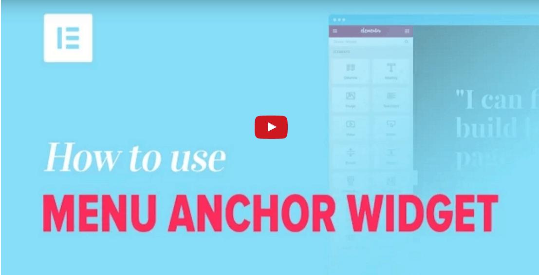 איך להשתמש בתפריט של אלמנטור anchor widget